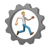 Casual man running in Gear Wheel Royalty Free Stock Image