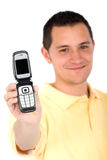 Casual man showing phone Royalty Free Stock Images