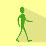 Casual man silhouette walking side flat vector Royalty Free Stock Photo