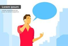 Casual Man Smart Phone Talk Chat Box Communication. Flat Vector Illustration Royalty Free Stock Photography