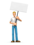 Casual man  standing with placards on the picket Stock Photos