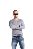 Casual Man Standing On White Royalty Free Stock Photography