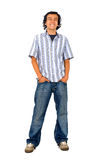 Casual man standing on white Royalty Free Stock Images