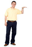 Casual man standing on white Royalty Free Stock Image