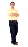 Casual man standing on white Stock Image