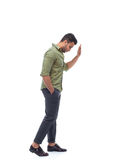 Casual man stress upset hand on wall looking down, businessman depression pondering Royalty Free Stock Photos