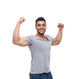 Casual Man Strong Biceps Muscle Happy Smile. Young Handsome Guy Wear Shirt Jeans Isolated White Background stock image