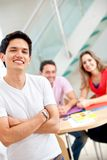 Casual man with students Stock Image