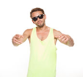 Casual man in sunglasses with the hands on the front Royalty Free Stock Photos