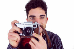 Casual man taking a photo Royalty Free Stock Images