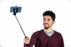 Casual man taking a selfie Stock Images