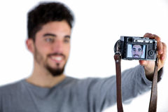 Casual man taking a selfie Stock Photography