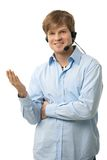 Casual man talking on headset Stock Photo