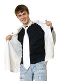Casual Man in Tie and T-Shirt Royalty Free Stock Photography