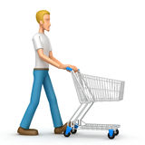 Casual man with trade cart Royalty Free Stock Photography