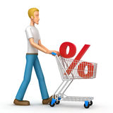 Casual man with trade cart Stock Image