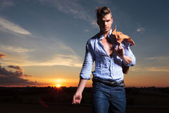 Casual man in the twilight Royalty Free Stock Photography
