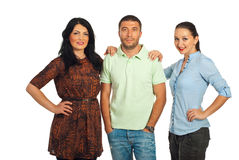 Casual man and two beautiful women Royalty Free Stock Photography