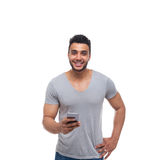 Casual Man Using Cell Smart Phone Smile Stock Photography