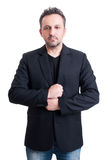 Casual man wearing suit jacket and black t-shirt. On white background Stock Photo