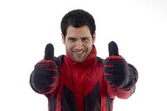 Casual man wearing winter clothes Stock Images