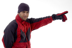 Casual man wearing winter clothes and gloves Royalty Free Stock Images