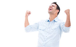 Casual man winning Royalty Free Stock Photo