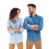 Casual man and woman looking at laughing at each other Stock Photography