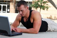 Casual man working on a computer Royalty Free Stock Photography