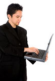 Casual man working on a laptop Stock Photo