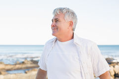 Casual mature man smiling by the sea Stock Images