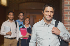 Casual mature student posing in corridor Royalty Free Stock Photo