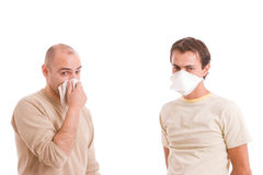Casual men with flu. Isolated over white background Stock Image