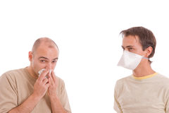 Casual men with flu Royalty Free Stock Photo
