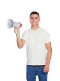 Casual men with a megaphone giving orders Stock Photo