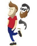 Casual men walk. Ing with happy face additional beard hair changable Stock Image