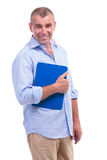 Casual middle aged man with clipboard Stock Images