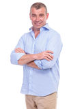 Casual Middle Aged Man Has His Arms Crossed Royalty Free Stock Photo