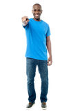 Casual middle aged  man pointing at you Stock Photo