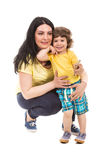 Casual mother and son posing Stock Photography