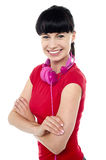 Casual music geek girl posing with confidence Royalty Free Stock Photos