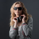 Casual music girl Stock Images