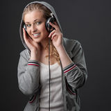 Casual music girl Stock Photo
