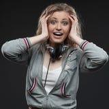 Casual music girl Stock Photos