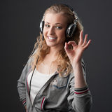 Casual music girl Stock Photo