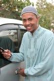 Casual muslim calling Stock Photo