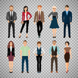 Casual office people on transparent background. Casual office people vector illustration. Fashion business men and business women persons group standing isolated Stock Photos