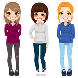 Casual Outfit Teenager Girls. Full body illustration of three happy young teenagers girls from different ethnicity smiling with casual outfit posing together Royalty Free Stock Images