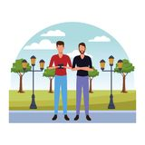 Casual people cartoon. Casual people men with technology device at nature park cartoon vector illustration graphic design stock illustration