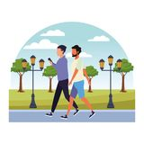 Casual people cartoon. Casual people men with technology device at nature park cartoon vector illustration graphic design vector illustration